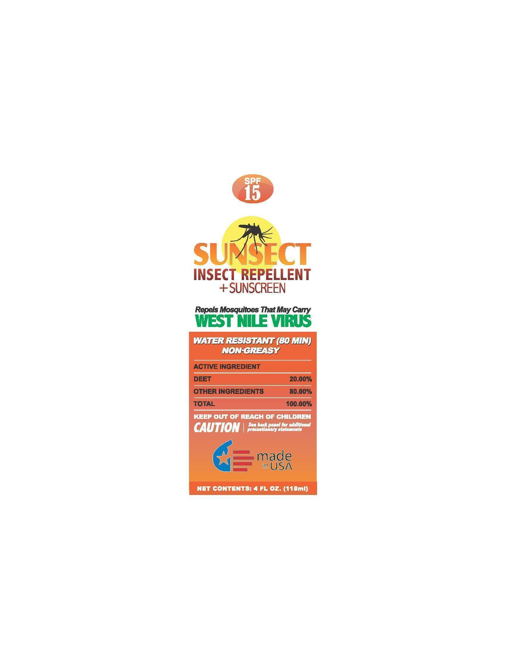 Sunsect Insect Repellent Sunscreen   Octinoxate, Oxybenzone, Octisalate Lotion safe for breastfeeding