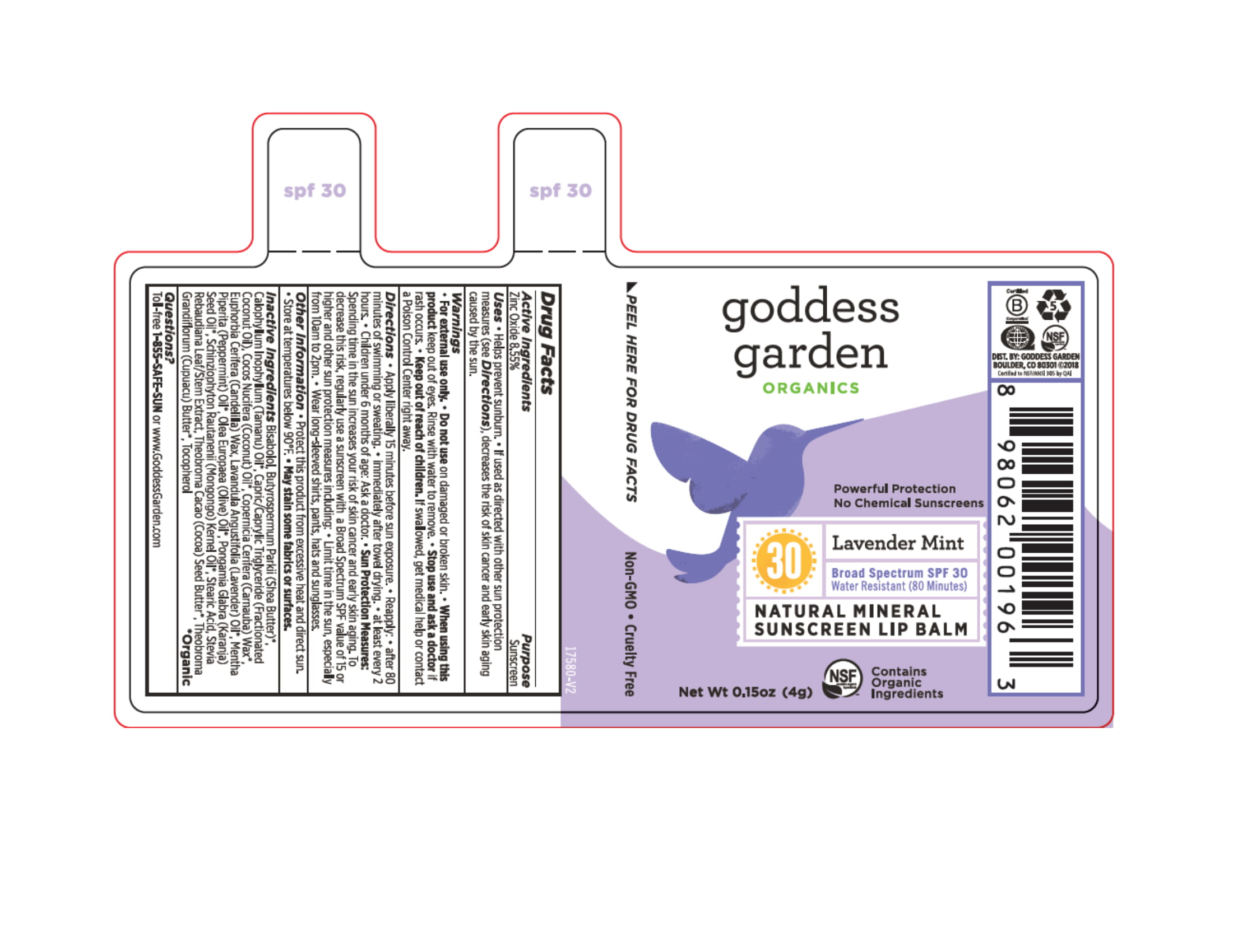 Lip Lavender Mint Spf30 | Zinc Oxide Stick Breastfeeding
