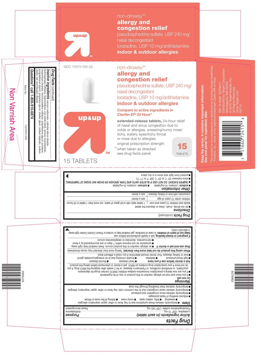 This is the 15 count blister carton label for Target Loratadine D tablets.