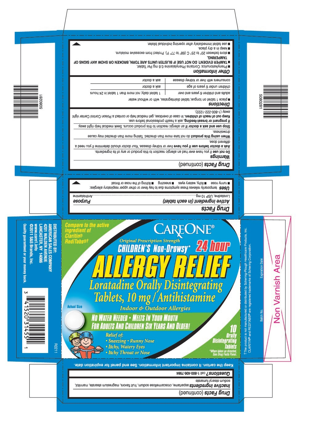 This is the bottle carton label for Careone 10 count Loratadine ODT, 10 mg (Claritin Kids).