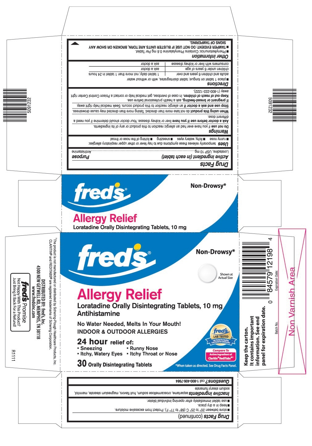 This is the 30 count blister carton label for Fred's Loratadine ODT, 10 mg.