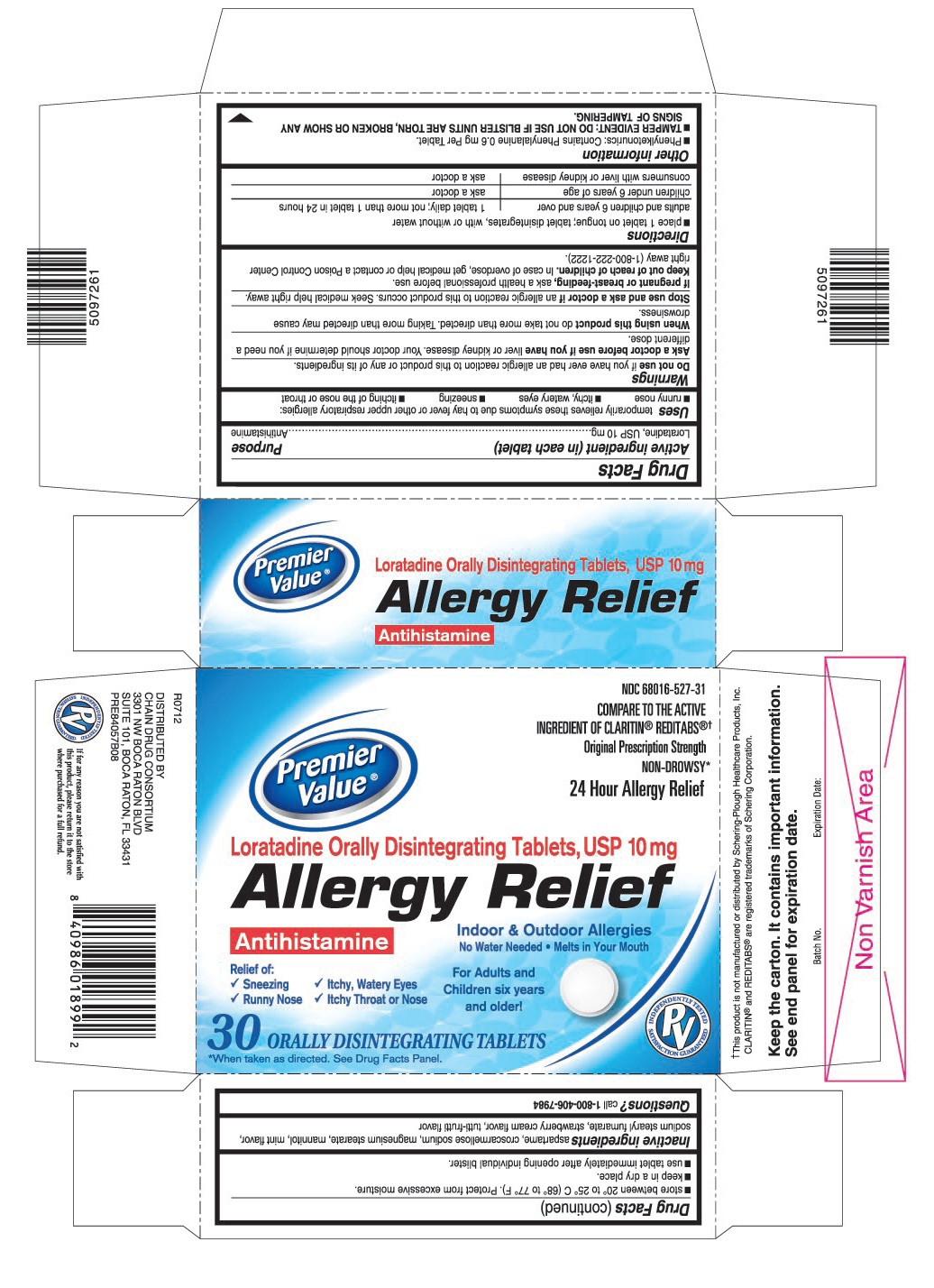 This is the 30 count blister carton label for Premier Value Loratadine ODT, USP 10 mg.