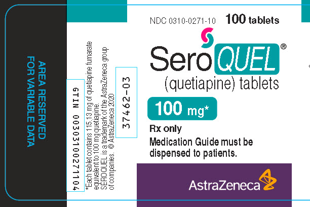 Seroquel 100 mg 100 tablet bottle label