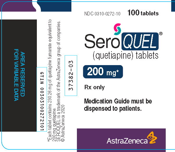 Seroquel 200 mg 100 tablet bottle label