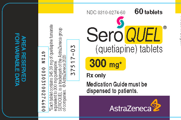 Seroquel 300 mg 60 tablet bottle label