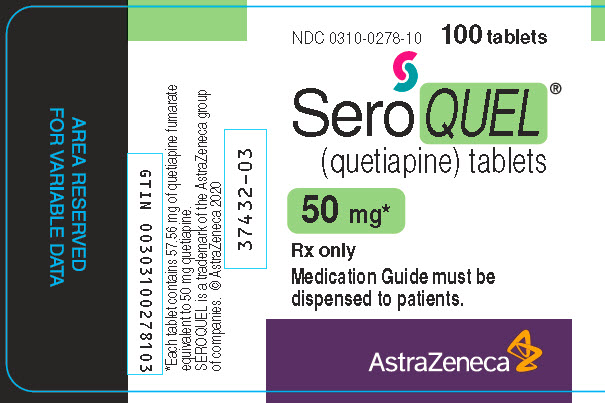 Seroquel 50 mg 100 tablet bottle label