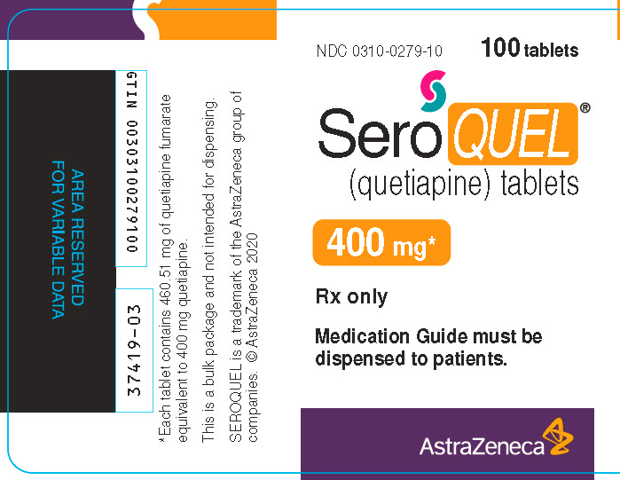 Seroquel 400 mg 100 tablet bottle label