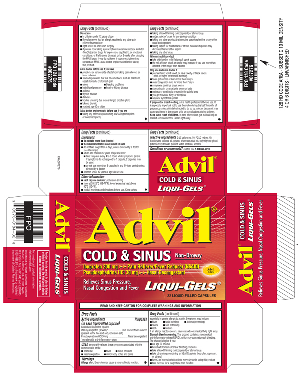 Advil COLD & SINUS Liqui-Gels Packaging