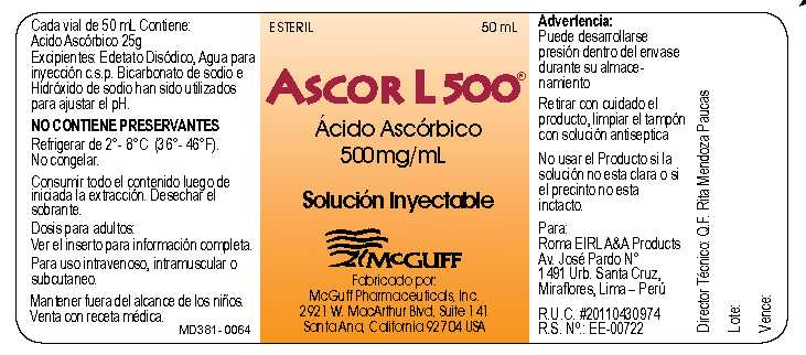 Vial Label - Ascor L 500 (Acido Ascorbico)