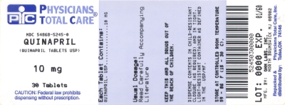 image of Quinapril 10 mg package label