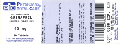 image of Quinapril 40 mg package label