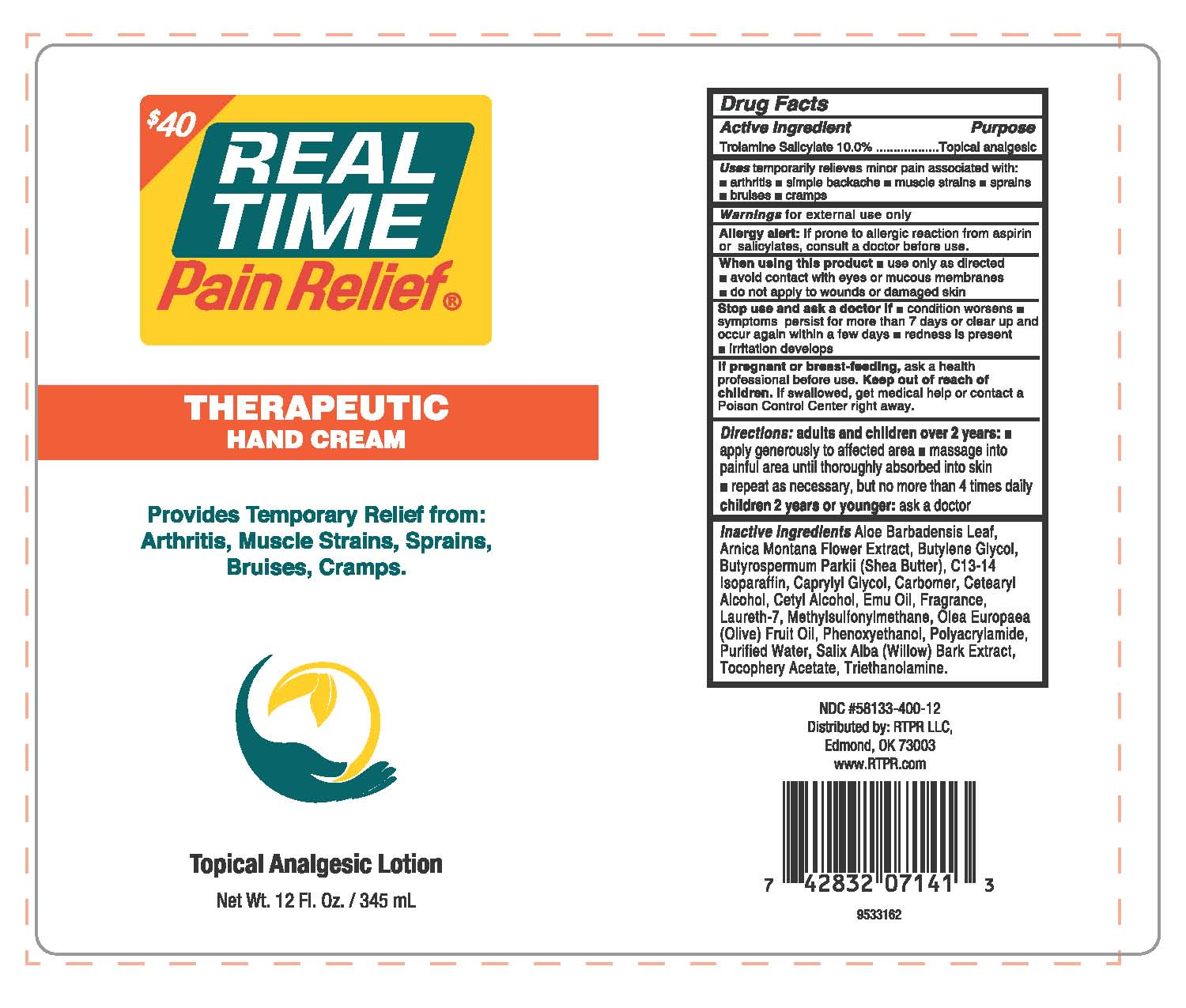 Real Time Pain Relief Therapeutic Hand Cream | Trolamine Salicylate 10% Lotion Breastfeeding