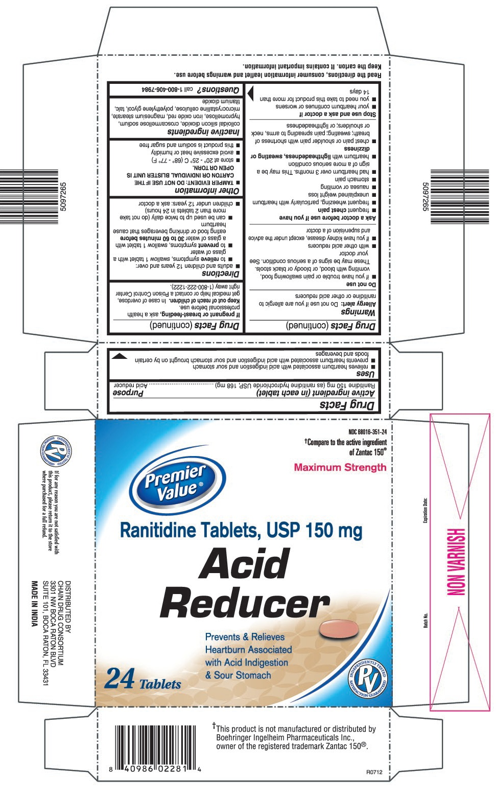 This is the Premier Value 24 count blister carton label for Ranitidine Tablets, USP 150 mg.