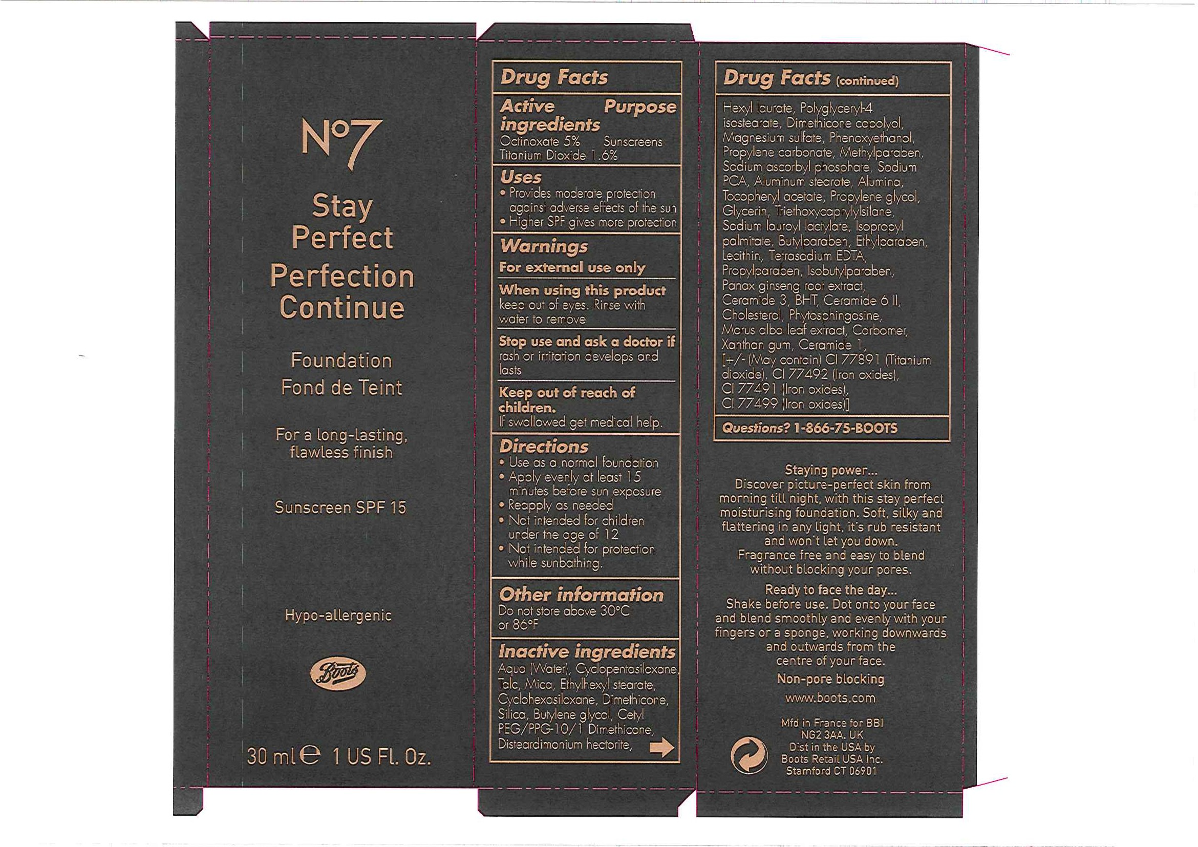 No7 Stay Perfect Foundation Sunscreen Spf 15 Porcelain 05   Octinoxate And Titanium Dioxide Emulsion Breastfeeding