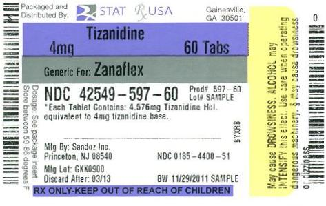 PRINCIPAL DISPLAY PANEL Tizanidine 4mg, 28 tablets
