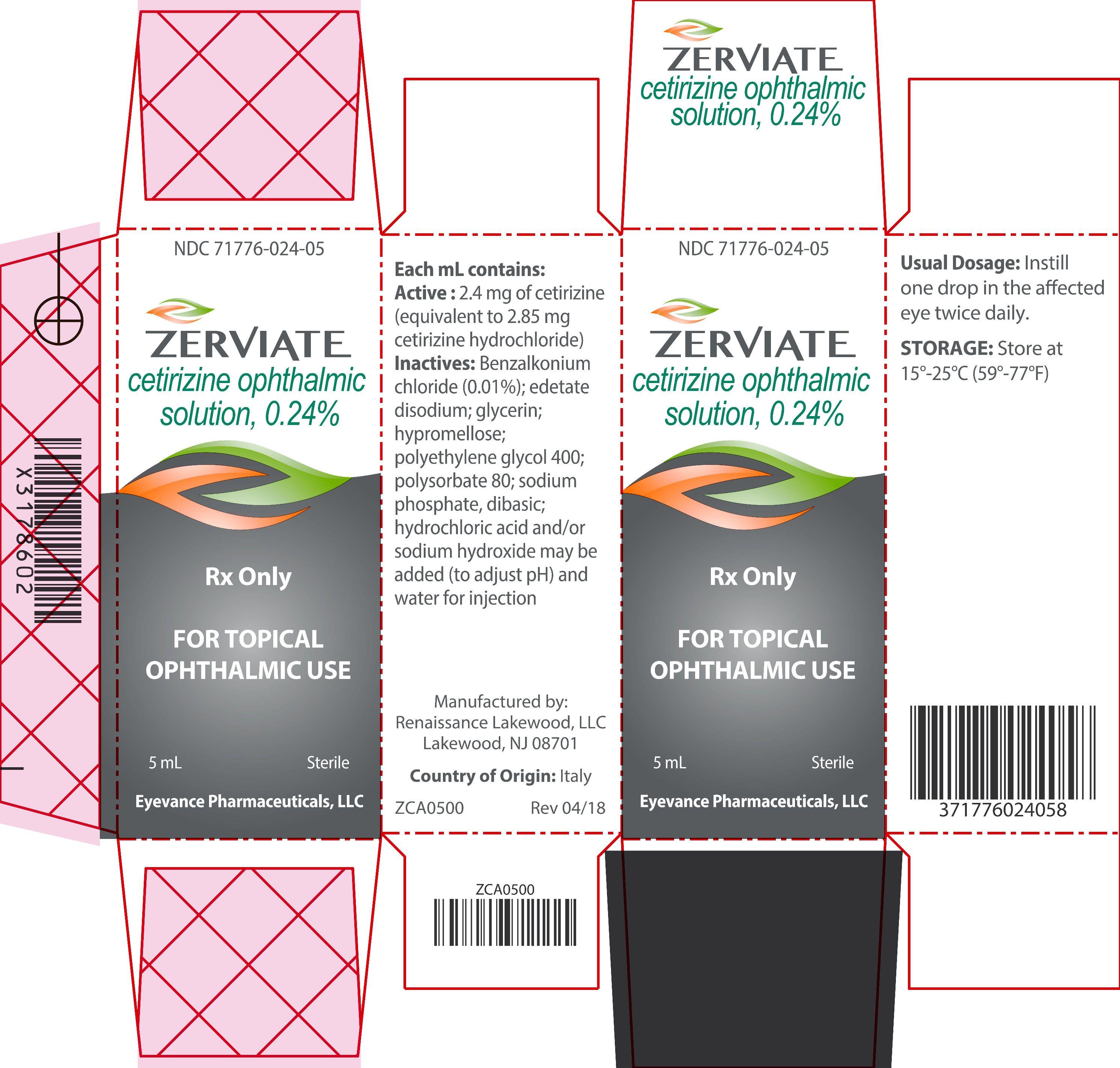 '.Rx Item-ZERVIATE- cetirizine OPTHALMIC s.'