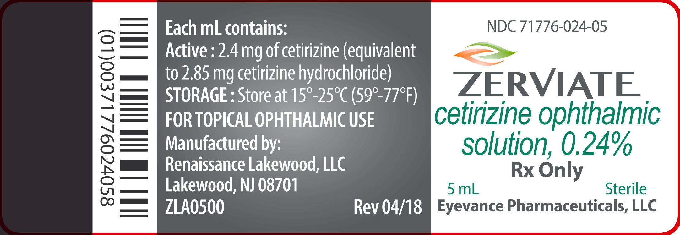 Rx Item-ZERVIATE- cetirizine OPTHALMIC solution/drops .24% 5CC by Eyevance Pharm