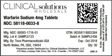 Warfarin 4mg tablet 30 count blister card