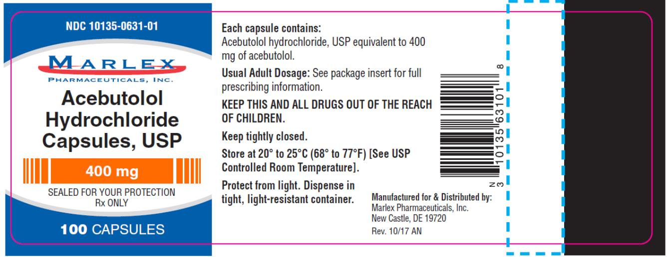 PRINCIPAL DISPLAY PANEL NDC 10135-0631-01 Acebutolol  Hydrochloride Capsules, USP 400 mg 100 CAPSULES Rx Only