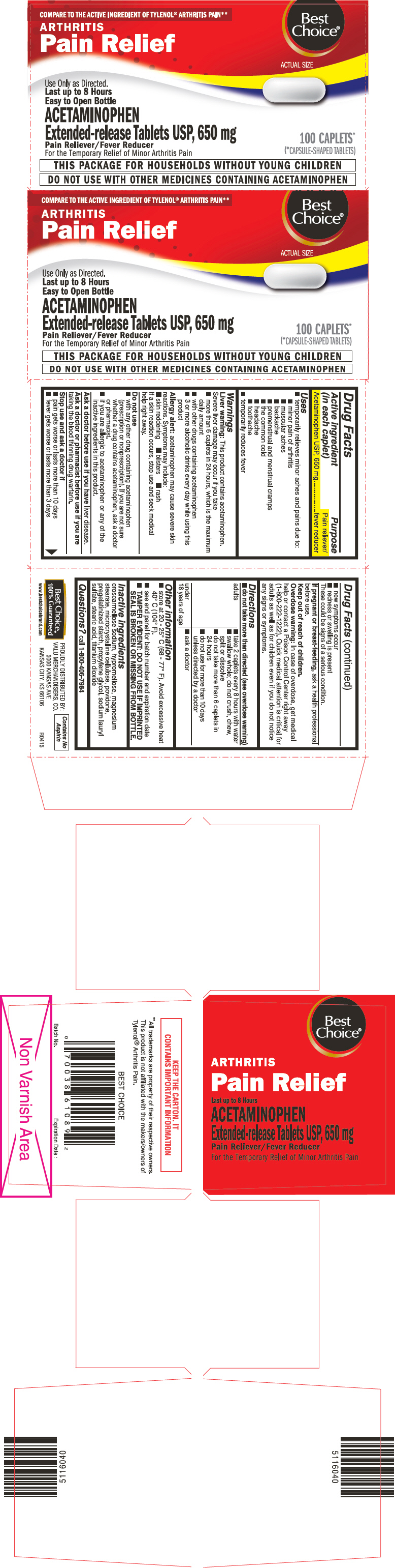 PRINCIPAL DISPLAY PANEL - 650 mg Caplet Bottle Carton