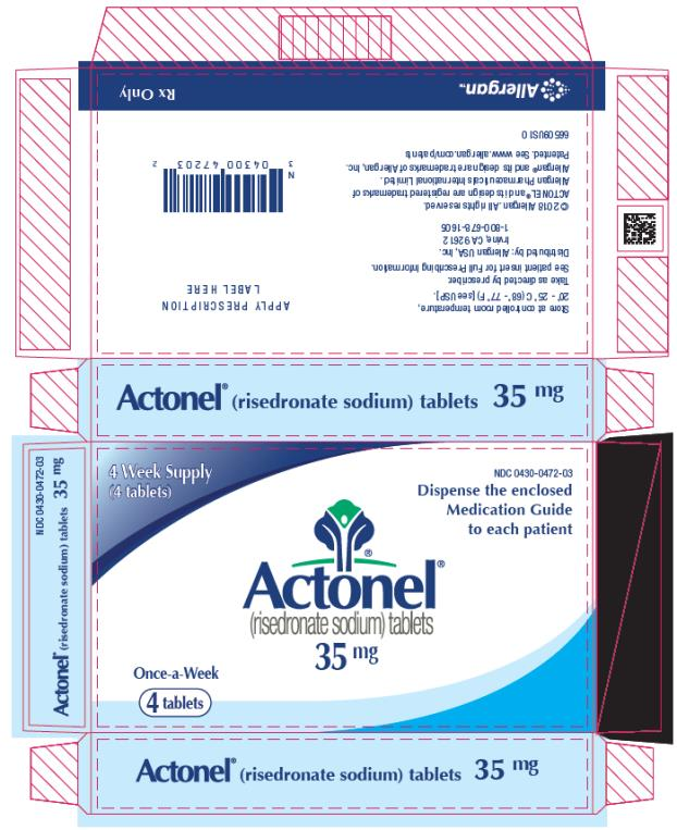 PRINCIPAL DISPLAY PANEL NDC 0430-0472-03 Actonel (risedronate sodium) tablets 35 mg 4 Week Supply (4 tablets) Rx Only