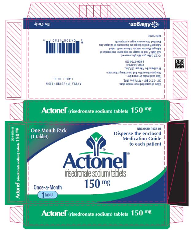 PRINCIPAL DISPLAY PANEL NDC 0430-0478-01 Actonel (risedronate sodium) tablets 150 mg One Month Pack (1 tablet) Rx Only