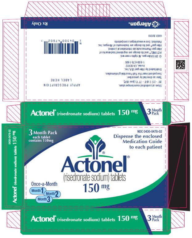 PRINCIPAL DISPLAY PANEL NDC 0430-0478-02 Actonel (risedronate sodium) tablets 150 mg 3 Month Pack Rx Only