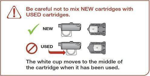 Do not mix used and new cartridges
