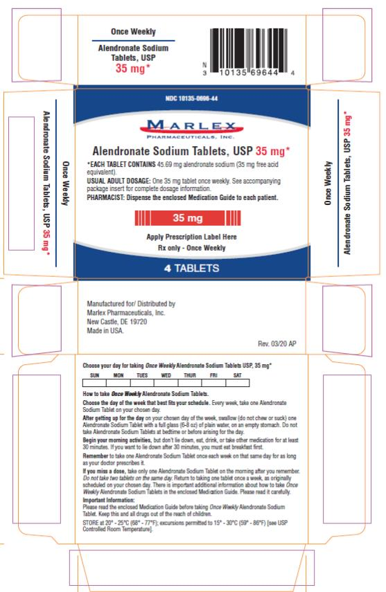 PRINCIPAL DISPLAY PANEL - 35 mg Tablet Blister Pack Carton 4 Tablets Rx only NDC 10135-0696-44 Once Weekly