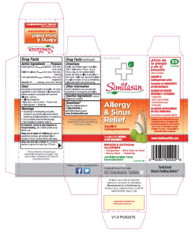 PRINCIPAL DISPLAY PANEL NDC 59262-242-30 Similasan Allergy & Sinus Relief 60 Dissolvable Tablets