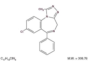 This is an image of the structural formula for Alprazolam.
