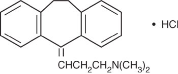 This is an image of the sturctural formula of Amitriptyline HCl.
