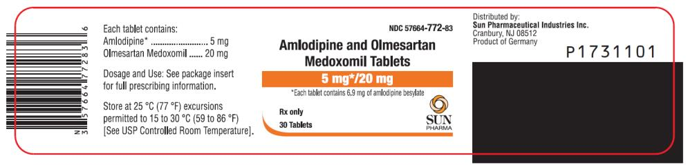 PRINCIPAL DISPLAY PANEL NDC 57664-772-83 Amlodipine and Olmesartan Medoxomil Tablets 5 mg*/ 20 mg *Each tablet contains 6.9 mg of amlodipine besylate 30 Tablets Rx Only