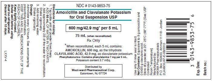 Amoxicillin and Clavulanate Potassium for Ora Suspension USP 75 mL