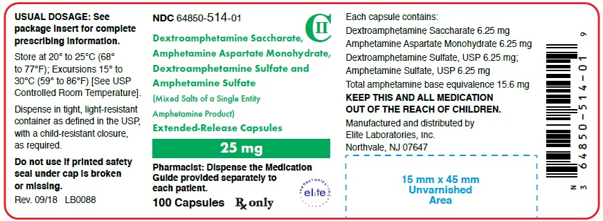Amphetamine ER Cap 25mg Container Label