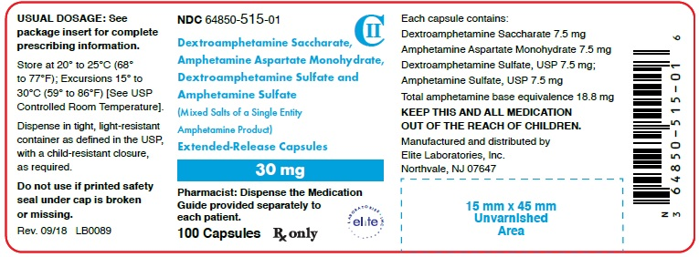 Amphetamine ER Cap 30mg Container Label