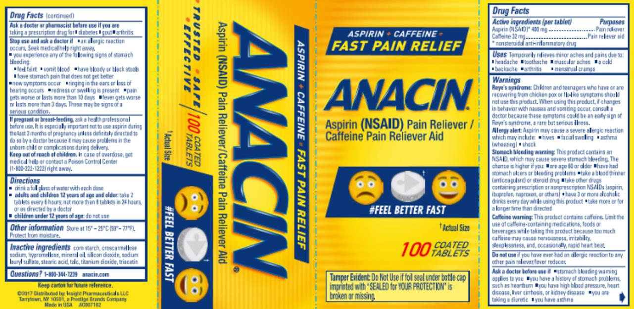 ANACIN®  Aspirin (NSAID) Pain Reliever / Caffeine Pain Reliever Aid 100 COATED TABLETS