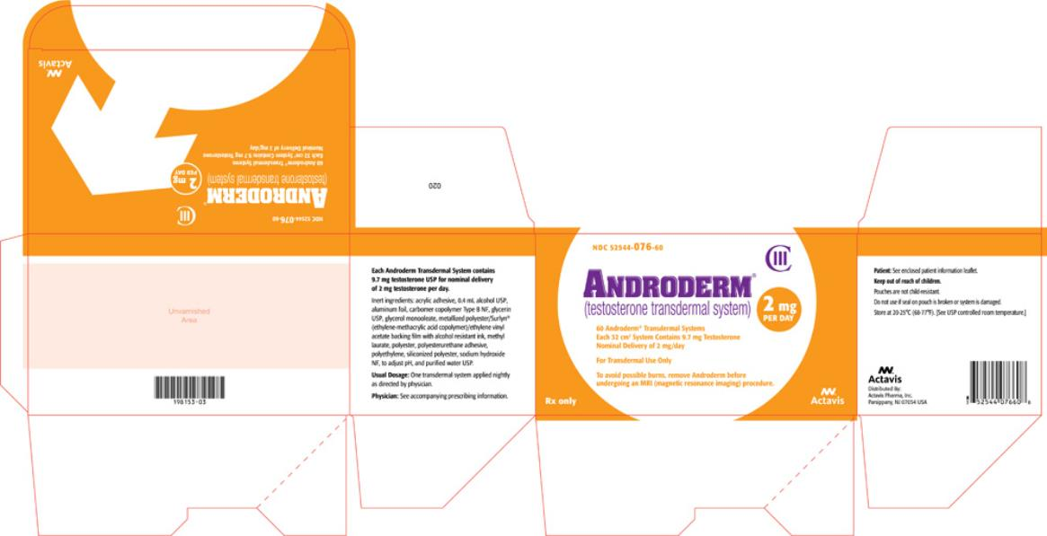 PRINCIPAL DISPLAY PANEL Androderm (testosterone transdermal system) CIII NDC 52544-076-60 Carton x 60 systems, 2 mg/day