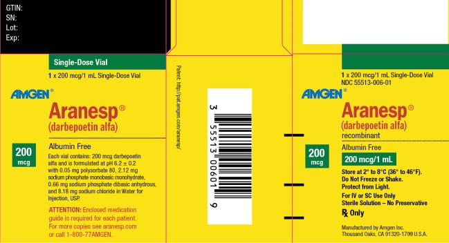 NDC 55513-006-01 1 x 200 mcg/1 mL Single-Dose Vial AMGEN ® Aranesp ® (darbepoetin alfa) recombinant Albumin Free 200 mcg 200 mcg/1 mL Store at 2° to 8°C (36° to 46°F). Do Not Freeze or Shake. Protect from Light. For IV or SC Use Only Sterile Solution – No Preservative Rx Only Manufactured by Amgen Inc. Thousand Oaks, CA 91320-1799 U.S.A.