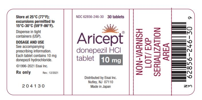NDC 62856-246-30  Aricept® 10 donepezil HCl tablet  10 mg 30 Tablets