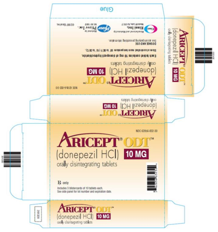 NDC 62856-832-30  ARICEPT® ODT™ (donepezil HCl) 10 MG orally disintegrating tablets