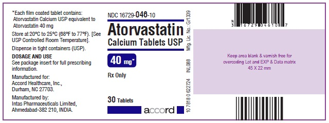 Atorvastatin Calcium Tablets – 40 mg 30 Bottle Label