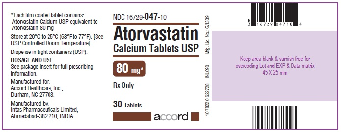 Atorvastatin Calcium Tablets – 80 mg 30 Bottle Carton