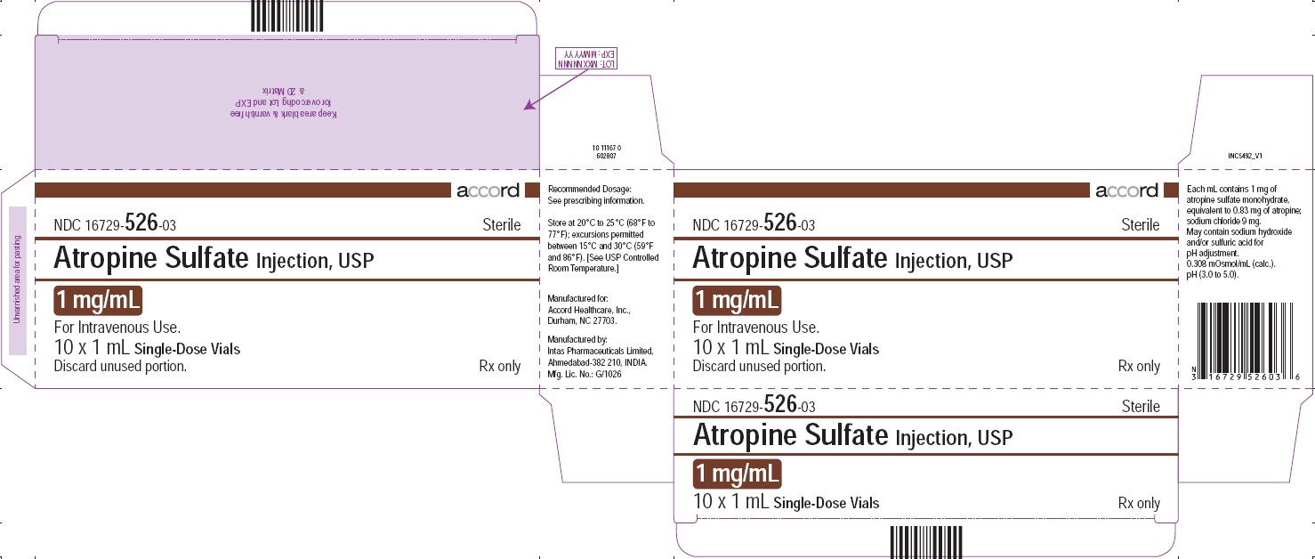 PRINCIPAL DISPLAY PANEL - Atropine Sulfate Injection, USP 1 mg/mL 10 Vials Carton
