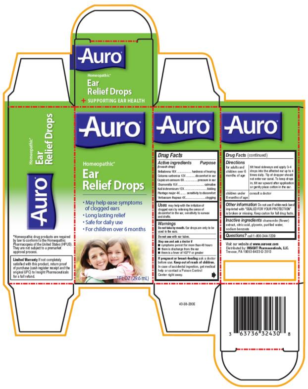 PRINCIPAL DISPLAY PANEL - 29.6 mL Bottle Carton Auro® Homeopathic* Ear Relief Drops •	May help ease symptoms of clogged ears •	Long lasting relief •	Safe for daily use •	For children over 6 months 1FL OZ (29.6 mL)