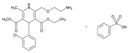 The structural formula for amlodipine besylate is chemically described as 3-ethyl-5-methyl (±)-2-[(2-aminoethoxy)methyl]-4-(2-chlorophenyl)-1,4-dihydro-6-methyl-3,5-pyridinedicarboxylate, monobenzenesulphonate. Its empirical formula is C20H25ClN2O5•C6H6O3S.
