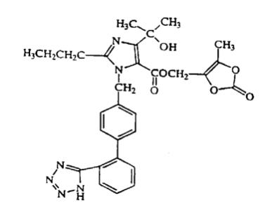 The structural formula for olmesartan medoxomil is chemically described as 2,3-dihydroxy-2-butenyl 4-(1-hydroxy-1-methylethyl)-2-propyl-1-[p-(o-1H-tetrazol-5-ylphenyl)benzyl]imidazole-5-carboxylate, cyclic 2,3-carbonate. Its empirical formula is C29H30N6O6.