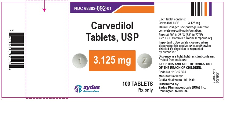 Carvedilol Tablets, 3.125 mg