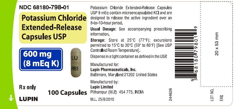 Potassium Chloride Extended-Release Capsules USP 600 mg (8 mEq K) 							NDC 68180-798-01 - Bottle of 100s