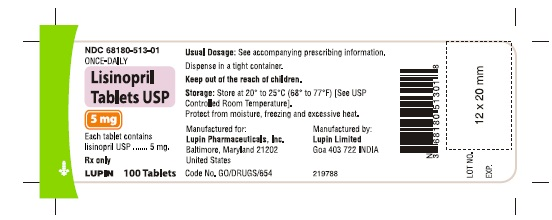 LISINOPRIL TABLETS USP Rx Only 5 mg NDC 68180-513-01 							100 Tablets
